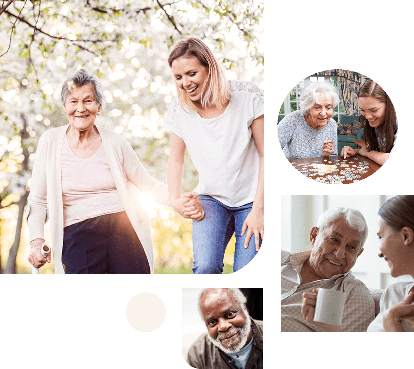 Elderly people with carers